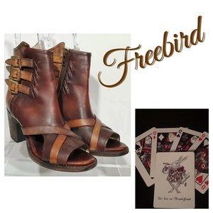 Freebird Peru Open Toe Boot Leather Booties Sz 8